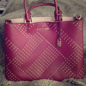 Michael Kors Adele studded handbag in merlot